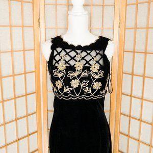 Scott McClintock VTG Floral Black Velvet Dress
